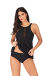 black Skirted tankini set - BelleChloe