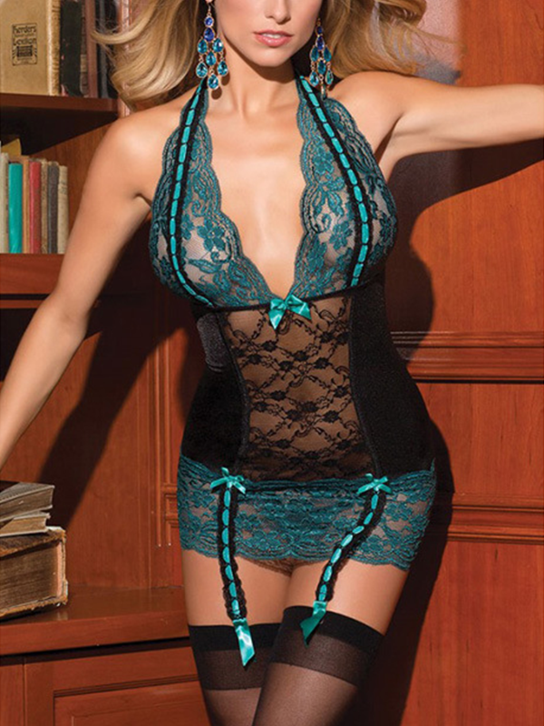 Sexy Halter Lace Chemise Lingerie with G-String - BelleChloe