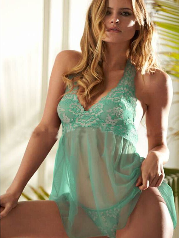 Women Lace Babydoll Strap V-Neck Nightwear