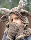 Cute Knitted Hood Scarf Hand-Woven Warm Earmuffs Cape Caps Gloves 2 Piece Sets - BelleChloe