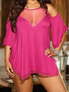 Women Plus Size Jersey Knit Camisole  Lace Trim Lingerie - BelleChloe
