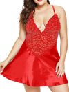Women Plus Size Halter Plunging One-Piece Lingerie