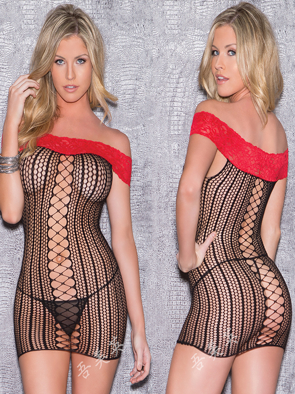 Sexy Solid See-Through Lingerie Dress