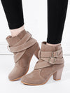 Fashion Buckle Strap Heeled Boots