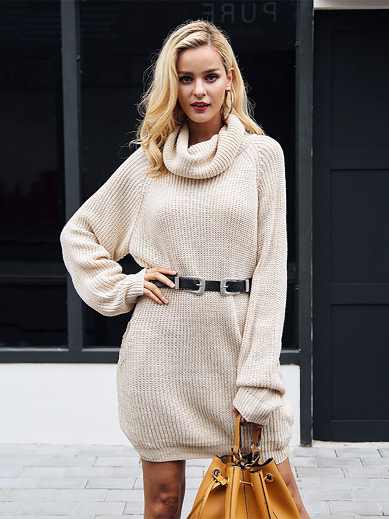 356c3cc4bee Turtleneck Knitted Sweater Casual Loose Long Sweater Dress-Dresses- BelleChloe