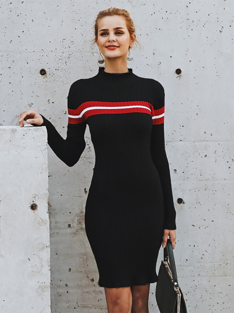 Casual Turtleneck Knitted Stripe Sweater Dress Slim Dress - BelleChloe