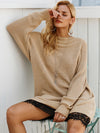 Splice Lace Sweater Dress O Neck Loose Casual Long Sweater Dresses-Dresses-BelleChloe