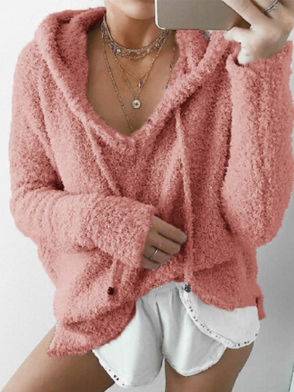 Mohair Hood Drawstring Velvet Sweater - BelleChloe