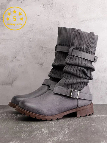 Fashion Flanging Middle Tube Low Heel Lace Up Boots