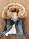 Fashion Lamb Fur Collar Slim Short Jean Coat - BelleChloe