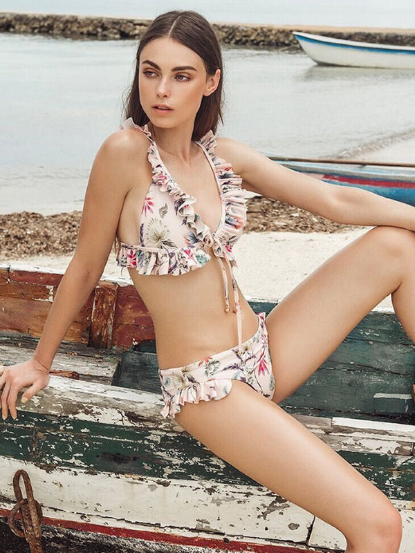 Printed Strap Lace Low Waist Sexy Bikini - BelleChloe