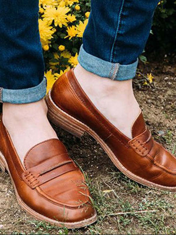 Comfortable Smooth Cow Leather Flat Casual Loafer