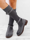 Knitted Fabric Attached Boots Warm Flat Boots-Boots-BelleChloe