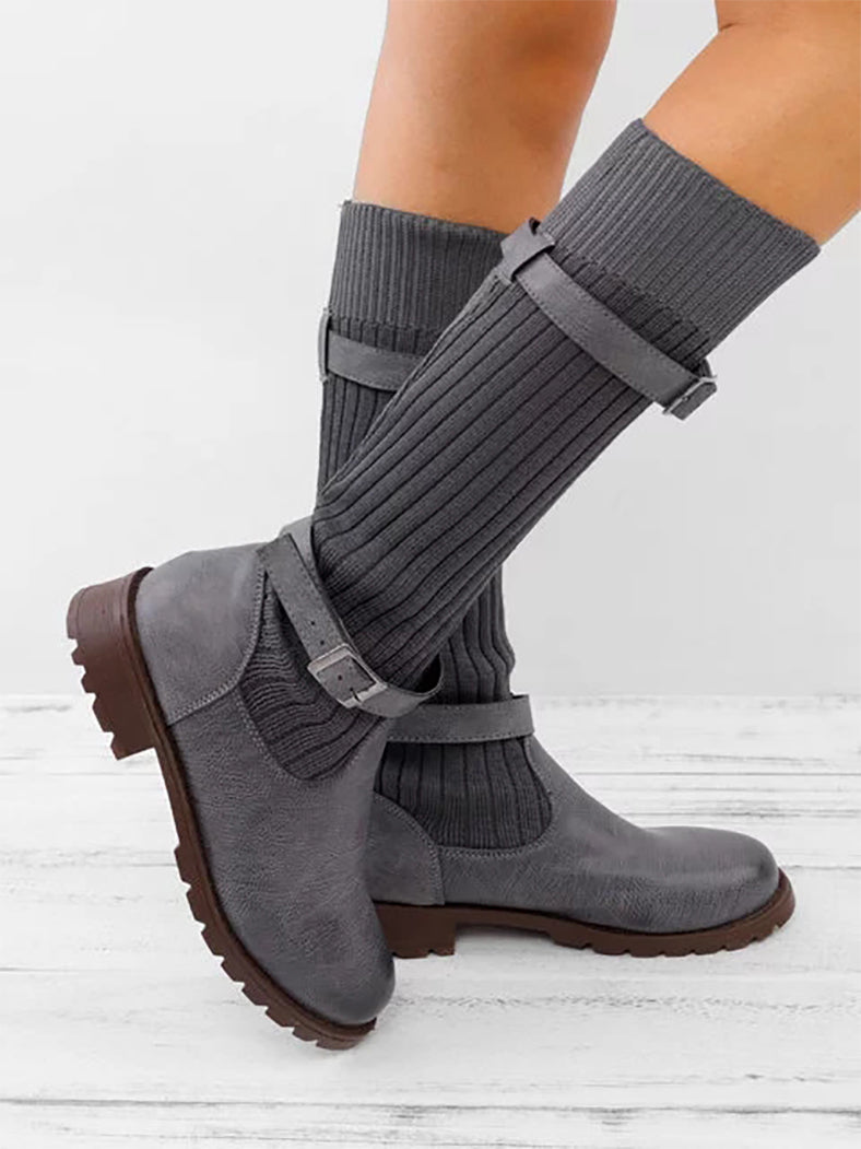 [Quality] Knitted Fabric Attached Boots Warm Flat Boots - BelleChloe