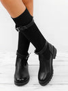 Knitted Fabric Attached Boots Warm Flat Boots - BelleChloe