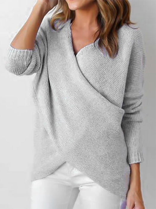 Cross Wrap Front V-Neck Long Sleeve Knitted Casual Sweater-Sweaters-BelleChloe
