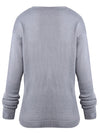 Cross Wrap Front V-Neck Long Sleeve Knitted Casual Sweater - BelleChloe