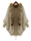 Fur Collar Batwing Sleeve Knitted Cardigan Sweater Jackets - BelleChloe