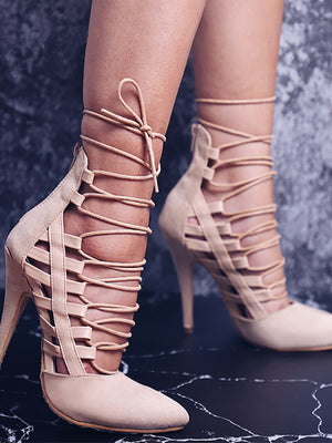 Suede Pointed Cross Strap Sandals - BelleChloe