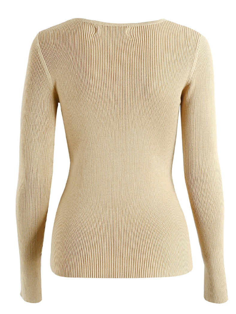 Women Sexy Elastic Long Sleeve Casual Sweater-Sweaters-BelleChloe