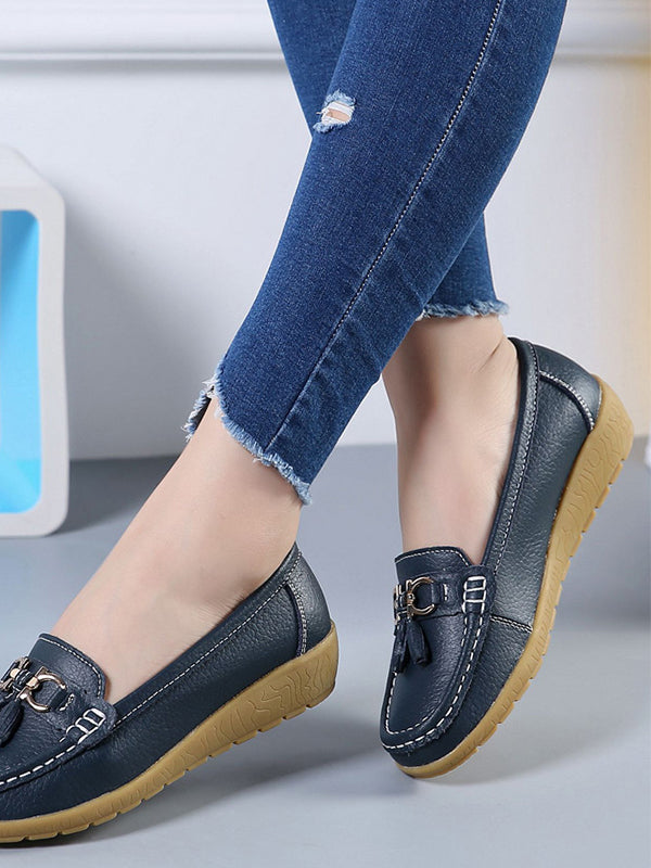 Women's  Comfortable Slip-On Nurse Work Wedge Real Leather Loafers - BelleChloe