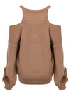 Elegant Cold Shoulder V Neck Sweater - BelleChloe
