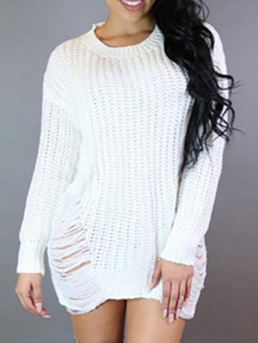 Long Sleeve Round Neck Tassel Irregular Loose Pullover Sweater - BelleChloe