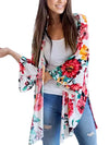 【Quality】Floral Printed Trumpet Sleeves Hem Front Open Split Cardigan - BelleChloe