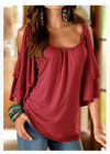 Solid Color Elbow Sleeve Two-Layer Fabrics Tops