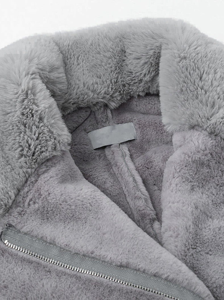 Grey Streetwear Fur Teddy Women Jacket - BelleChloe