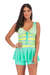 slv Springs Lace-Up Scalloped Swimsuit