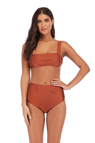 Solid Color Sling Low Waist Sexy Split Bikini