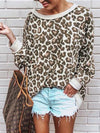 Leopard Print Crew Neck Long Sleeve Blouse - BelleChloe