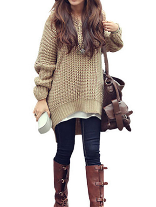 Irregular Edge Knit Loose Hooded Sweater - BelleChloe