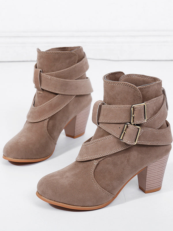 Women's Boot Round Toe Buckle Strap Boot High Heeled Shoes Bootie Fashion Suede Boot Shoes - BelleChloe