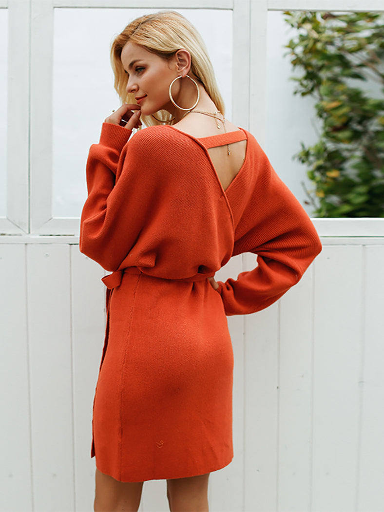 f81f51ffb5a V Neck Knitted Warp Dress Vintage Long Sleeve Dresses Hollow Out Sexy Dress- Dresses-