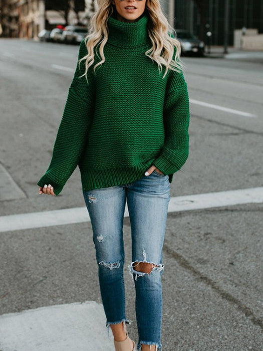 a47c80c1477aa Turtleneck Oversized Long Sleeve Knitted Pullover Sweater-Sweaters -BelleChloe