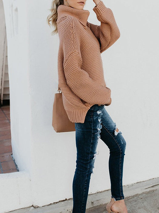 Turtleneck Oversized Long Sleeve Knitted Pullover Sweater - BelleChloe