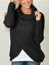 Knitted Buttons Casual Irregular Hem Special Collar Sweater - BelleChloe