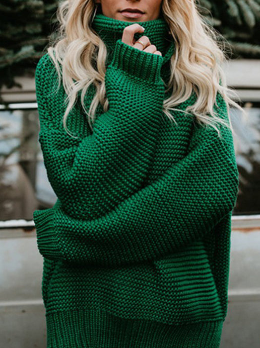Turtleneck Oversized Long Sleeve Knitted Pullover Sweater-Sweaters-BelleChloe