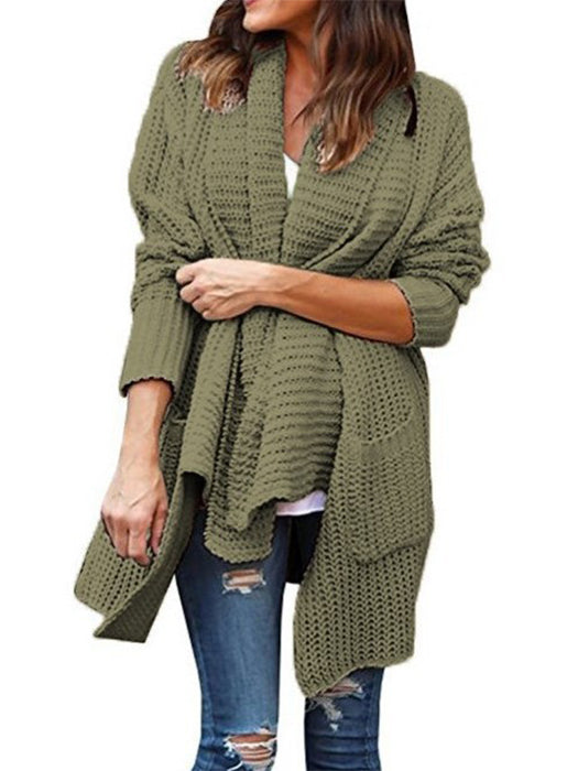 Loose Pockets Long Sleeve Knitted Cardigan Sweaters-Cardigans-BelleChloe