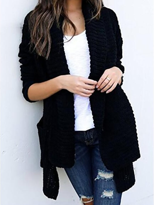 Loose Pockets Long Sleeve Knitted Cardigan Sweaters - BelleChloe