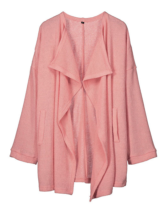 Solid Color Irregular Collar Cardigan Sweater Jackets - BelleChloe
