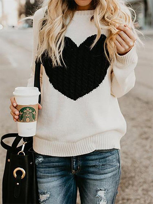 Round Neck Heart Print Knitted Sweater - BelleChloe