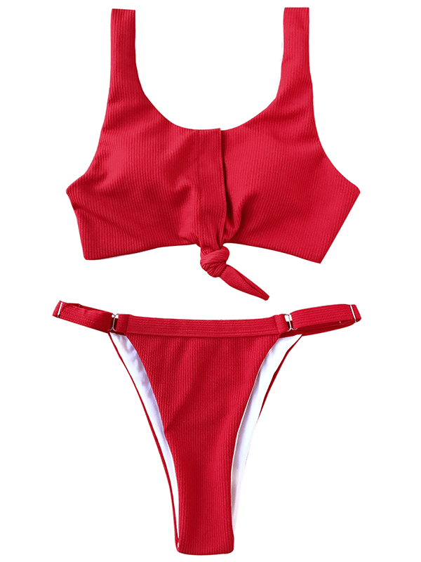 Solid Color Sexy Open Back Split Swimsuit