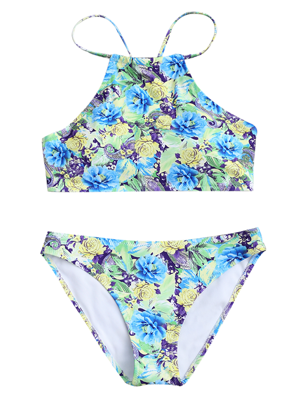 Cross Strap Open Back Floral Print Split Swimsuit - BelleChloe