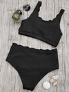 Shoulder Solid Color Split Swimsuit - BelleChloe