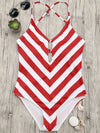 Striped Cross Strap Open Back One Piece Swimsuit - BelleChloe