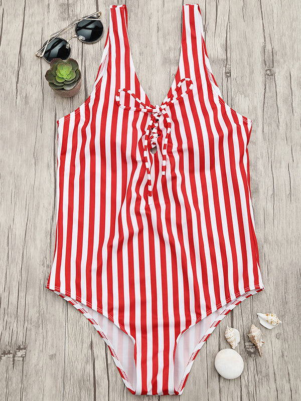 Vertical Stripe sexy Lace Up One Piece Swimsuit - BelleChloe