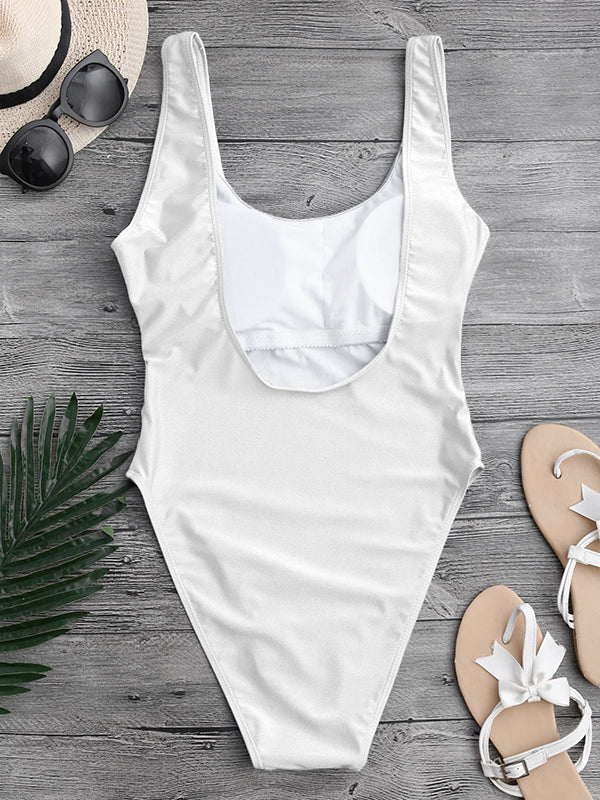 Solid Color Sexy One Piece Swimsuit - BelleChloe